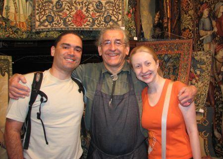 Em Lyon, com o tapeceiro simpático Gérard