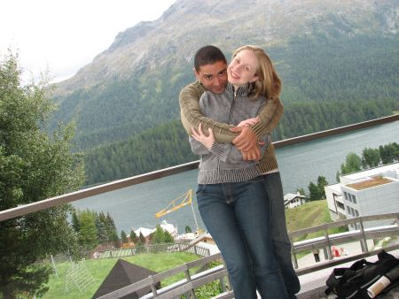 Na frente do lago em St Moritz